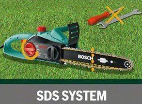 Die Kettensäge AKE 35 S von Bosch ist einfach zu Handhaben. Das Wechseln und Spannen der Kette wird über das SDS-System werkzeuglos vorgenommen.