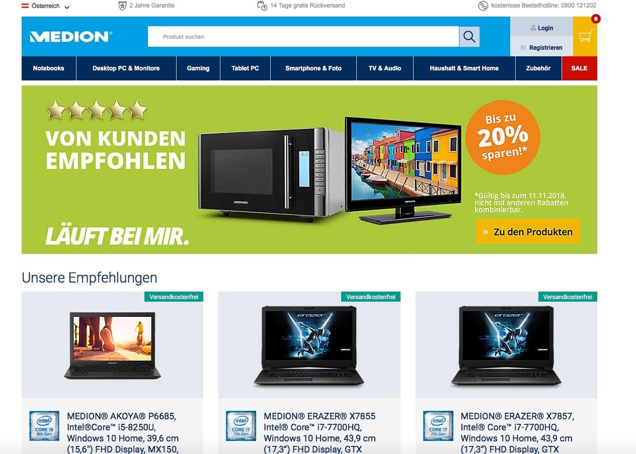 Das ist der Online-Shop von Medion.