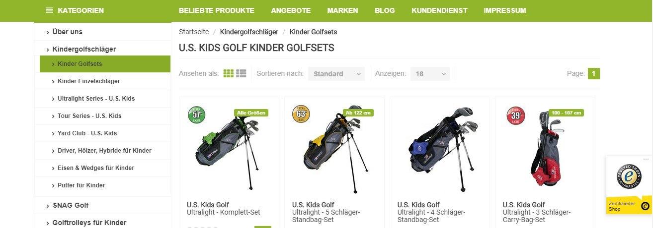 Übersichtliche Kategorien vereinfachen das Shoppen auf Golfmaniacs.de