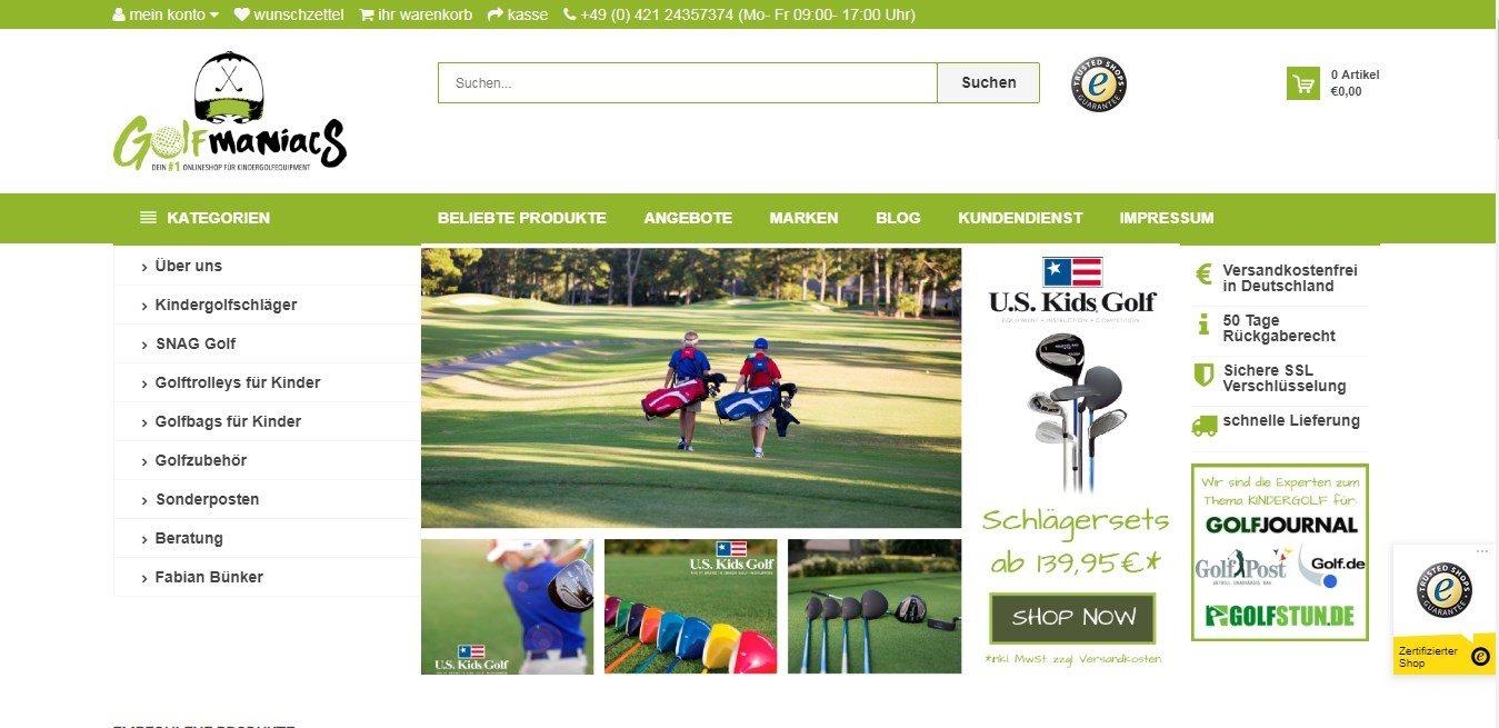 Golfmaniacs-Shop für Kinder-Golfschläger und Kinder-Golfsets