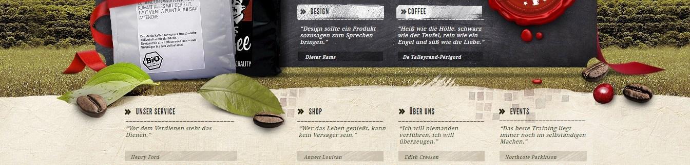 6 Kategorien führen sicher durch die Webseite von Labelmycoffee.com