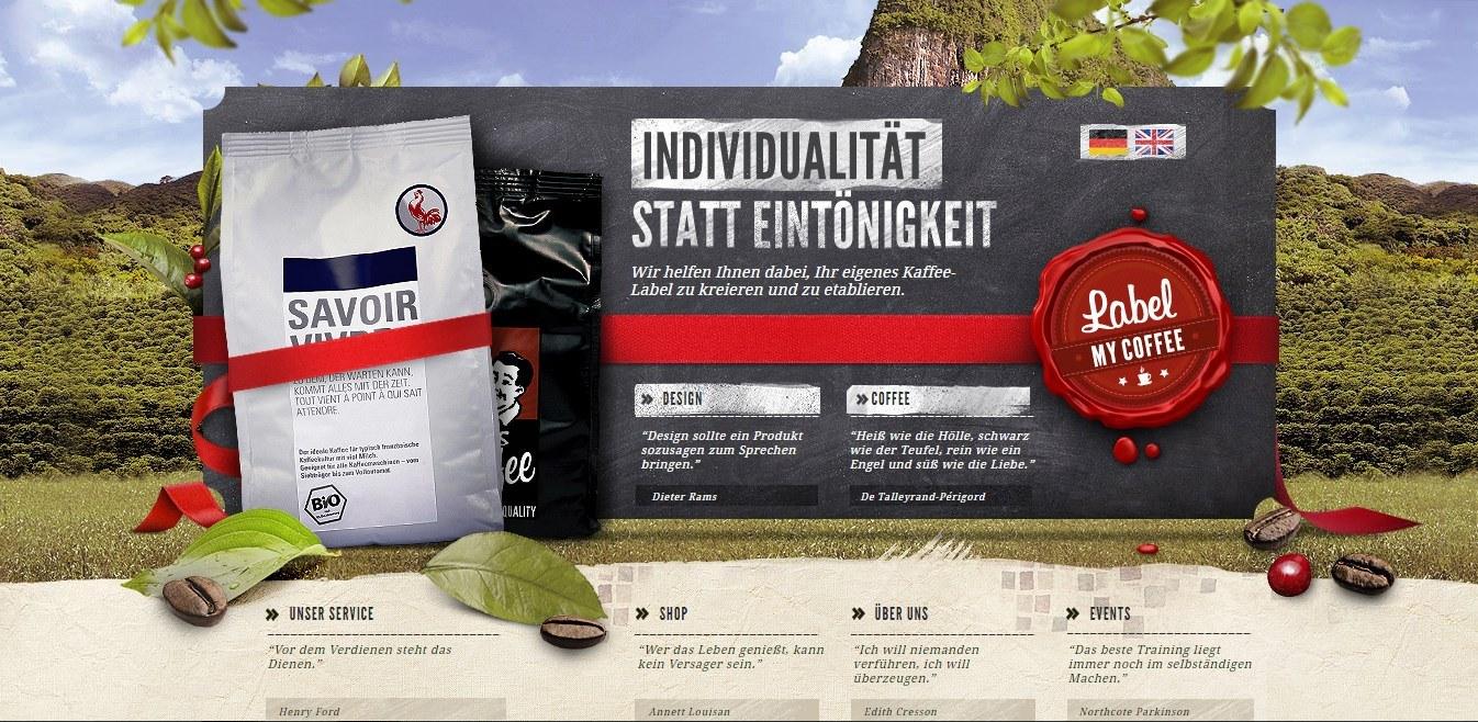 Mit Label my coffee kann der eigene Kaffee vermarktet werden