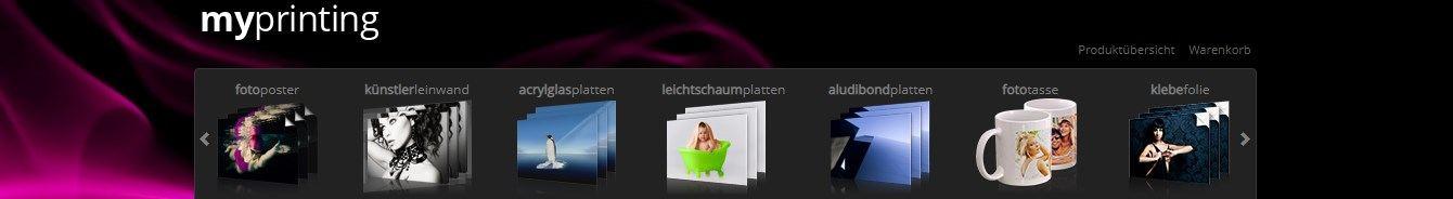 Die diversen Kategorien vereinfachen den Einkauf auf Myprinting.de