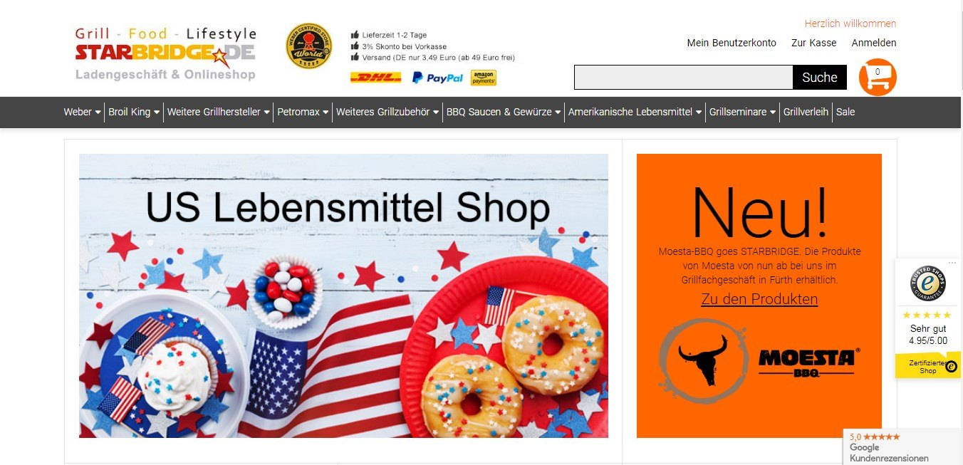 Der Onlineshop von Starbride bietet alles rund ums Grillen, Essen und Lifestyle