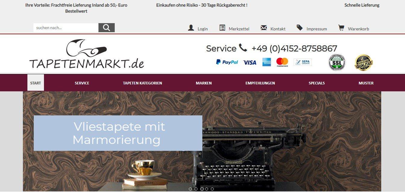 Der Onlineshop Tapetenmarkt bietet alles rund um die Tapete