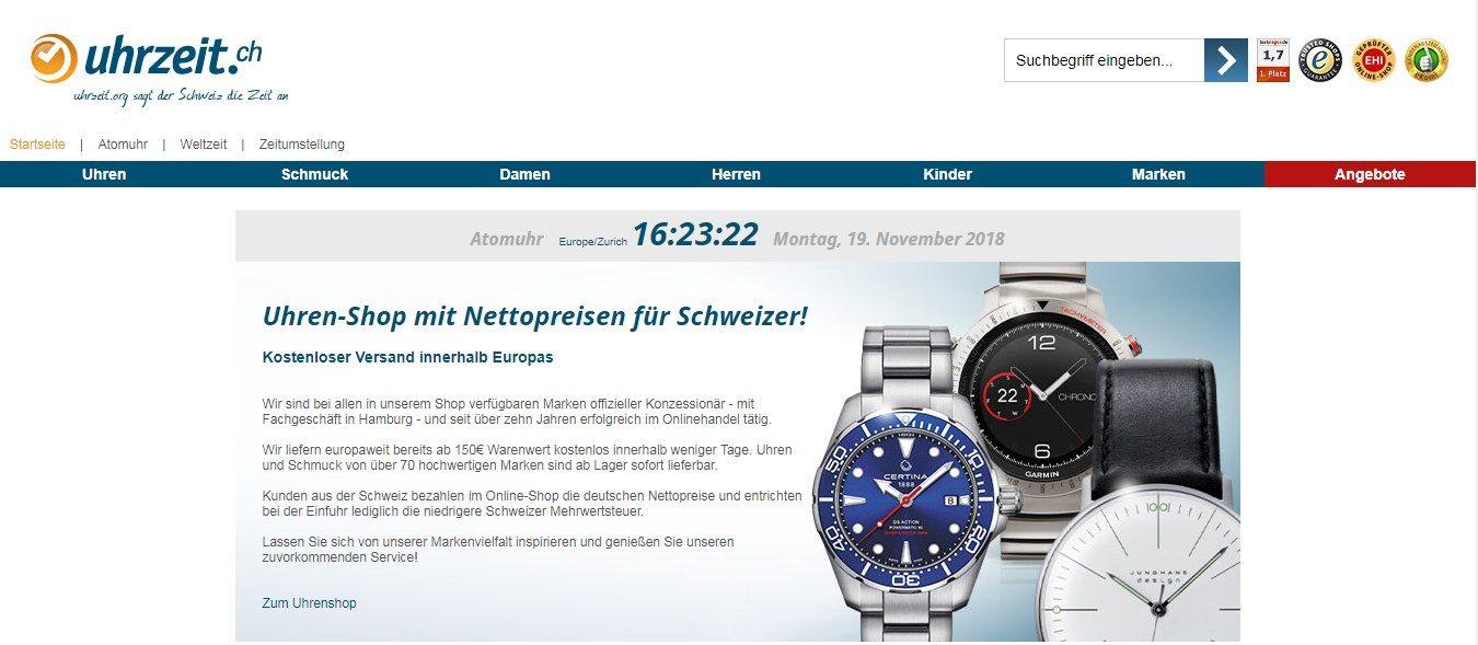 der Onlineshop von Uhrzeit.ch bietet hochwertige schweizer Uhren