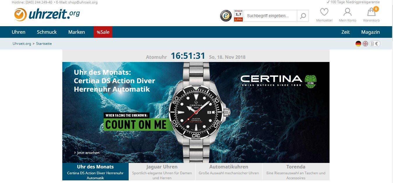Uhrzeit.org - Onlineshop für Uhren und Schmuck
