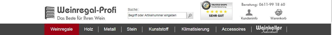 Die Kategorien für unterschiedliche Produkte erleichtern den Einkauf auf weinregal-profi.de