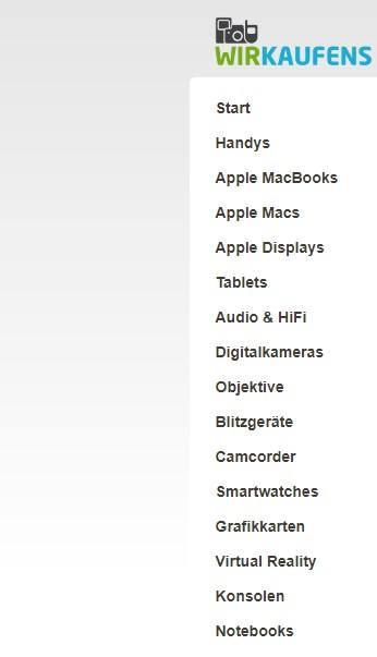Die Kategorien bei der richtigen Auswahl des Verkaufs auf Wirkaufens.de