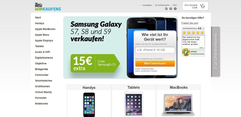 Die Ankaufplattform Wirkaufens.de kauft gebrauchte Elektronikartikel an