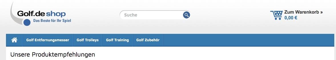 screenshot von den Kategorien bei Golf.de