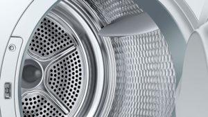 Rostfreie und wäscheschonende Trommel der Bosch WTW845W0 Serie 8 Waschmaschine mit integriertem Trockner im Test.