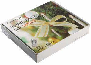Verpackung und Lieferumfang der Koopower kabellosen LED Weihnachtsbaumbeleuchtung mit Fernbedienung im Test und Vergleich.