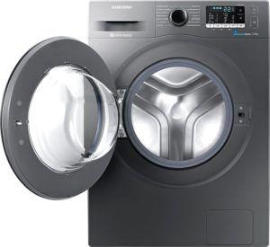 Graue Frontlader Samsung WW70J5435FXEG 7 kg Waschmaschine mit integriertem Trockner und Display im Vergleich Test.