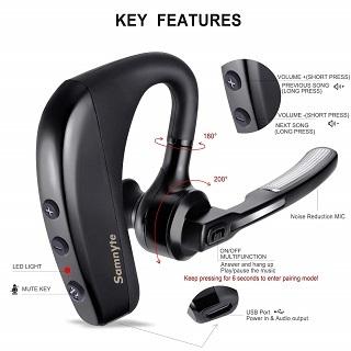 Samnyte K10 Black Bluetooth Headset