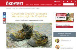 """Screenshot des Artikels über die satirische Seite """"Gärten des Grauens"""""""