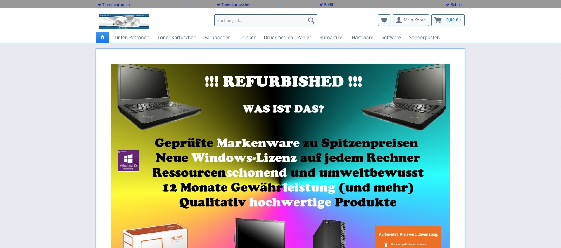 Screenshot der Website von Das Tintenhaus