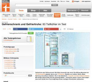 Bild von der Website von Stiftung Warentest: Gefriergeräte Test