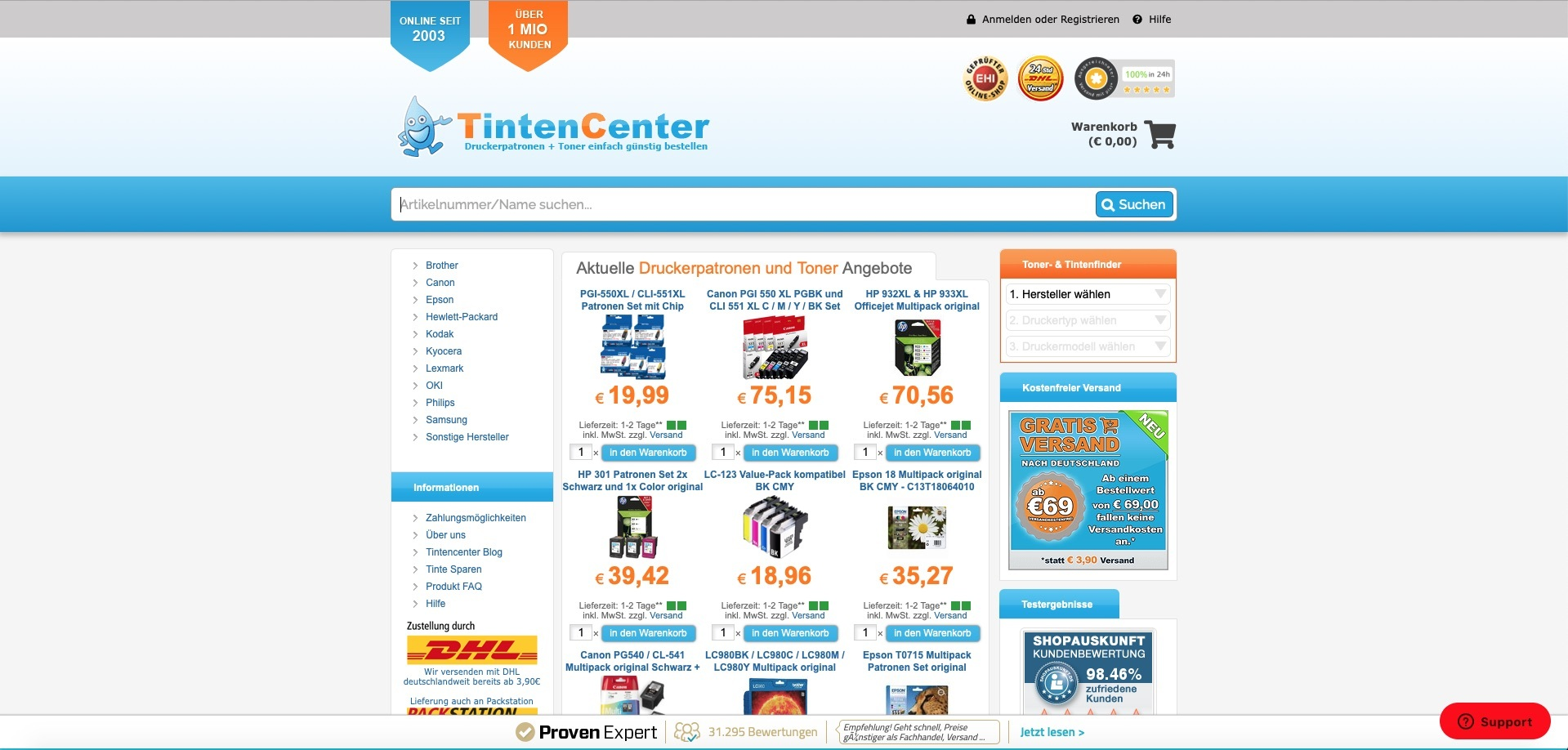 Screenshot des Online-Shops von Tintencenter.com