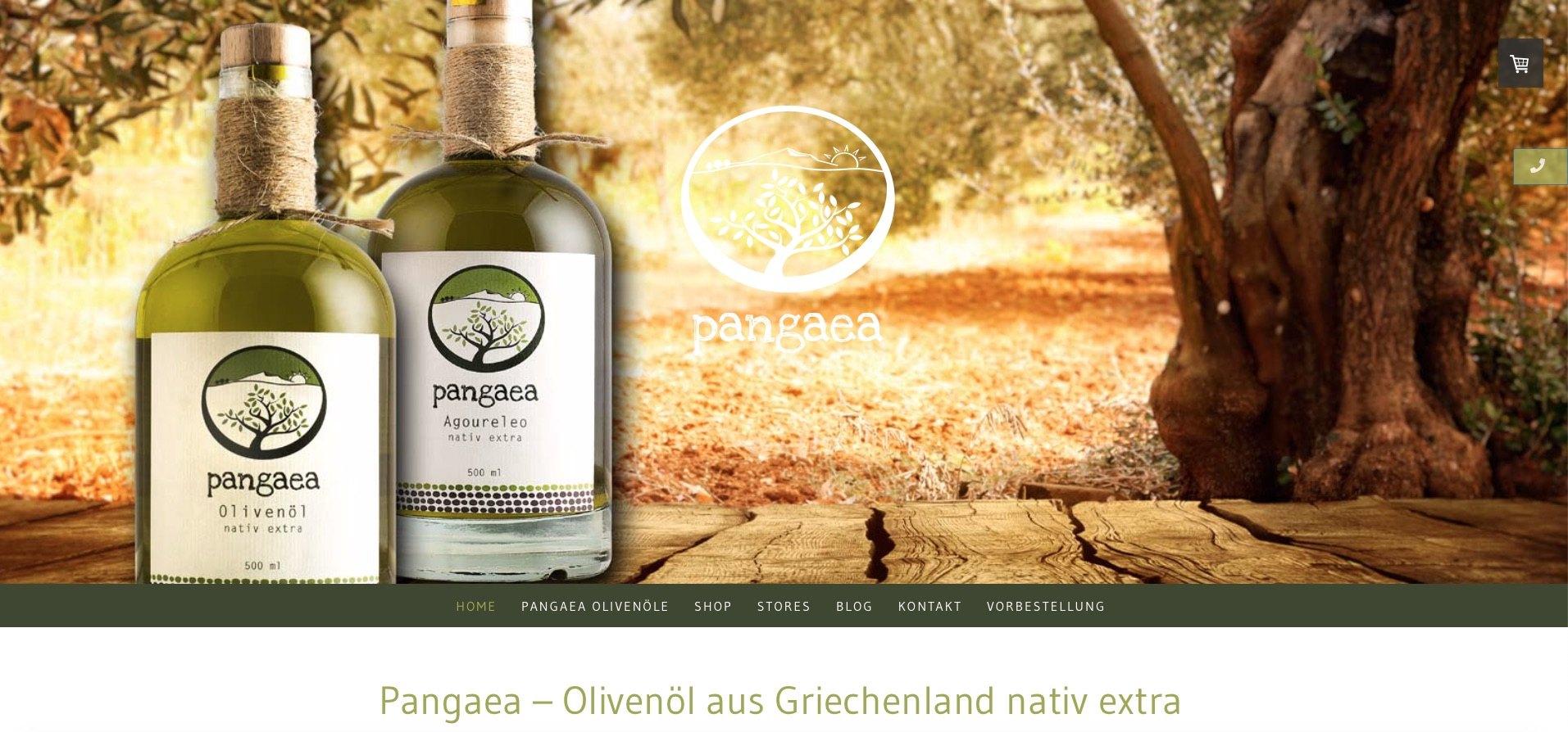Screenshot des Olivenöl Webshops Pangaea