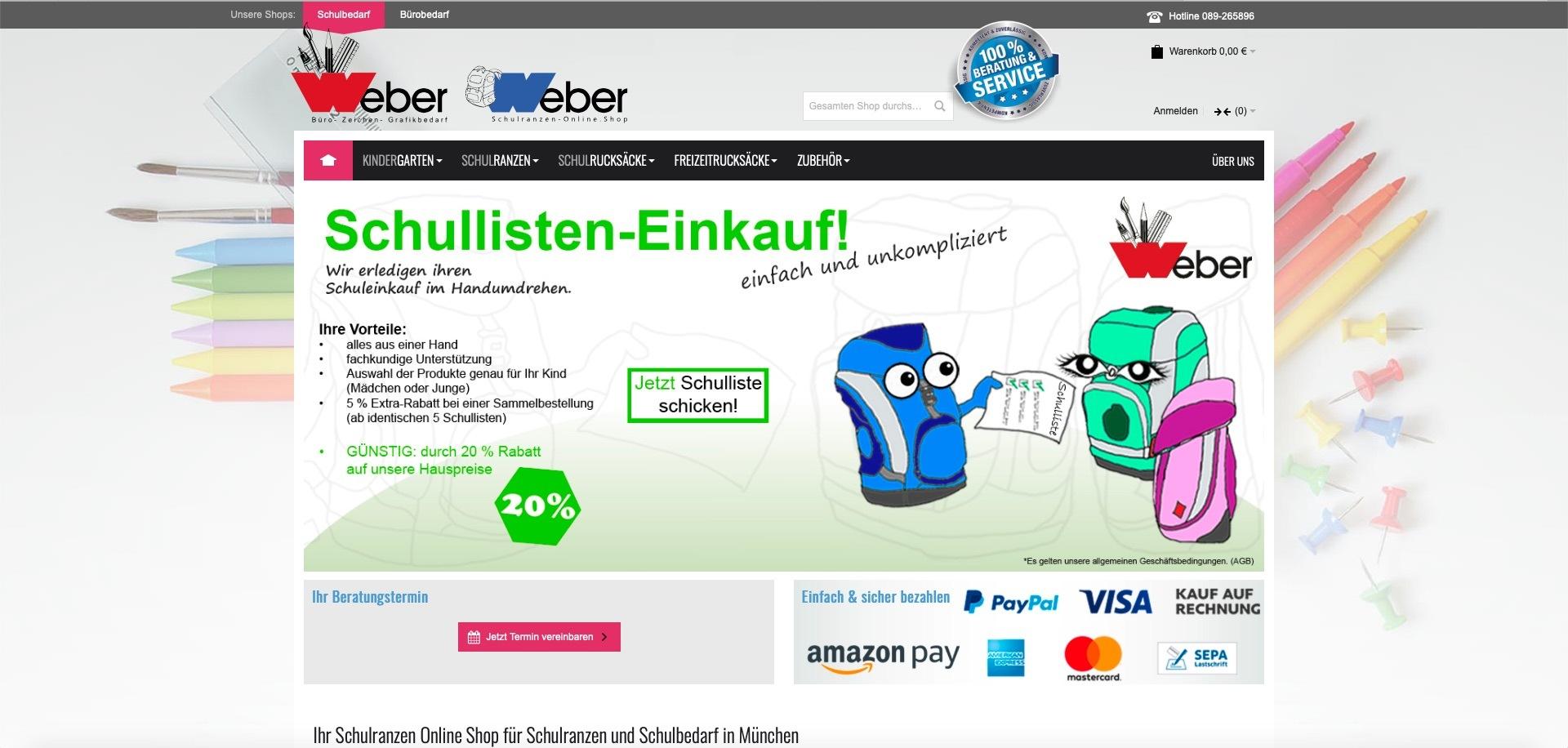Bildschirmfoto des Webshops von schulranzen-online.shop