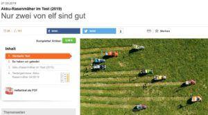 Abbildung des öffentlich zugänglichen Artikels über Akku-Rasenmäher bei Stiftung Warentest