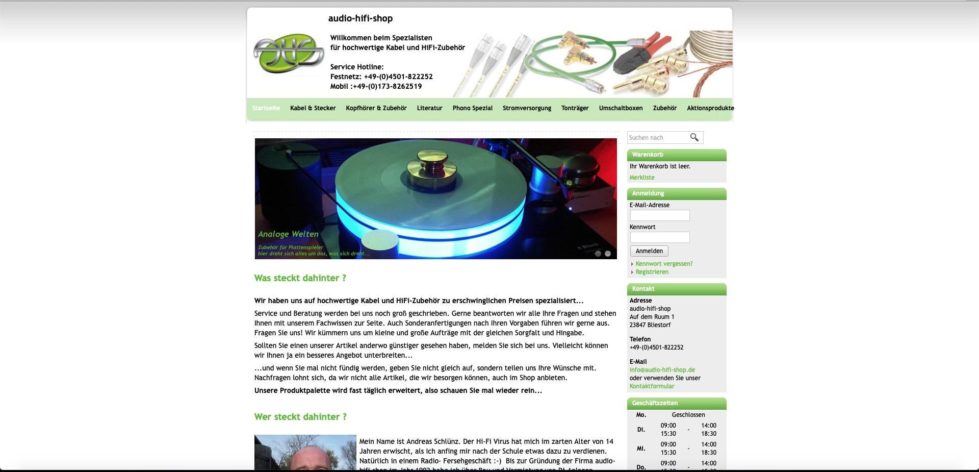 Bildschirmfoto von audio-hifi-shop.de