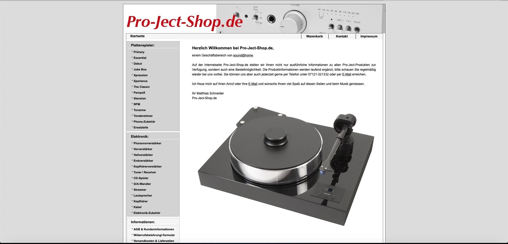 Bildschirmfoto von Pro-Ject-Shop