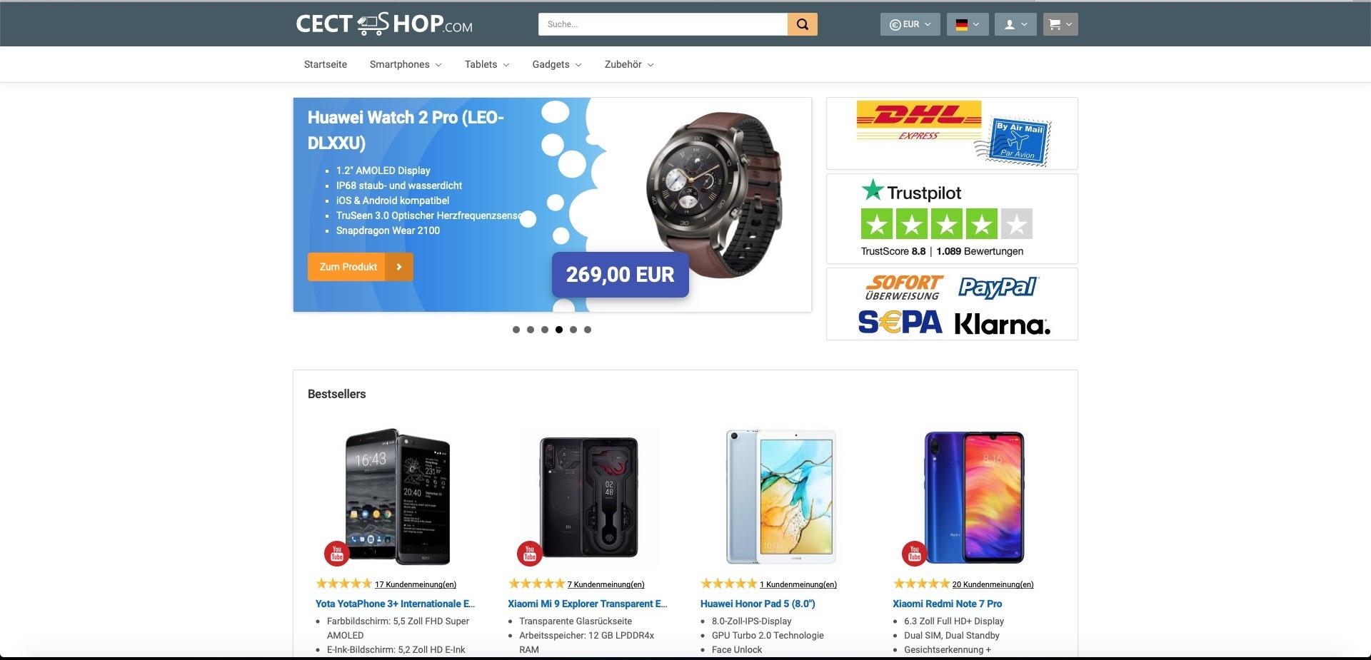 Bildschirmfoto von cect-shop.com