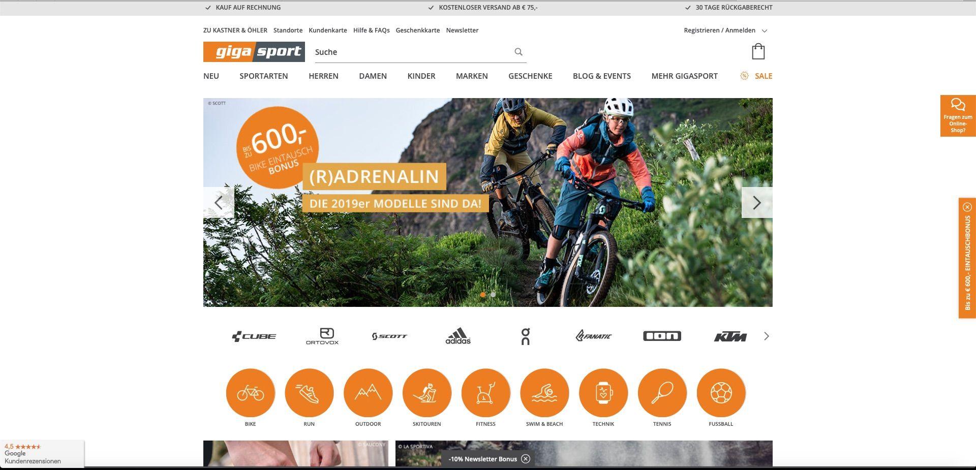 Bildschirmfoto von gigasport.at