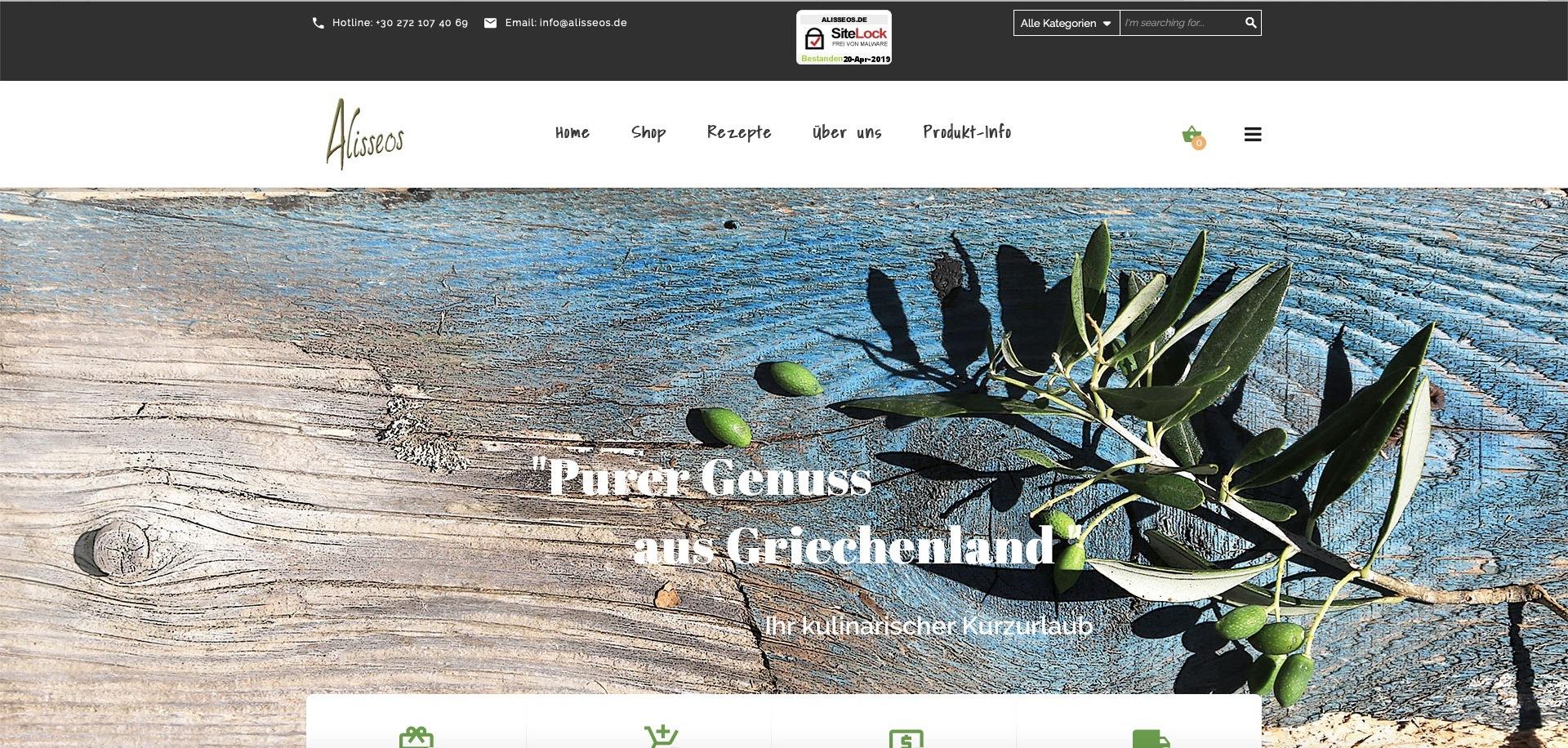 Bildschirmfoto des Webshops alisseos.de