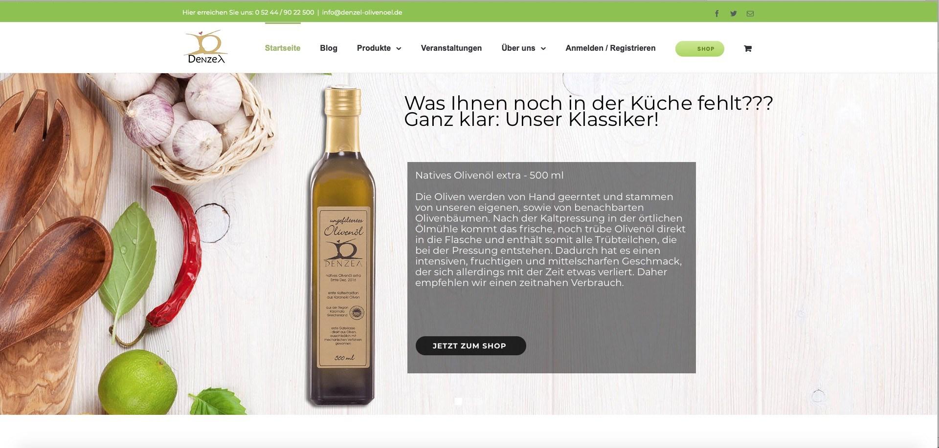Bildschirmfoto des Onlineauftritts von denzel-olivenoel.de