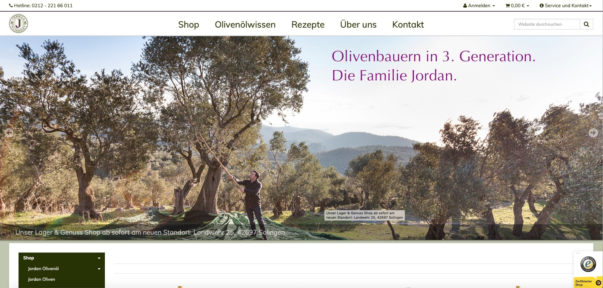 Bildschirmfoto des Onlineauftritts von jordanolivenoel.de