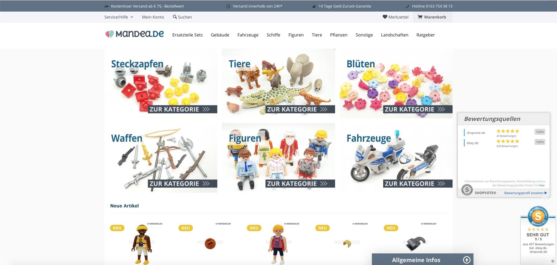 Bildschirmfoto des Webshops mandea.de