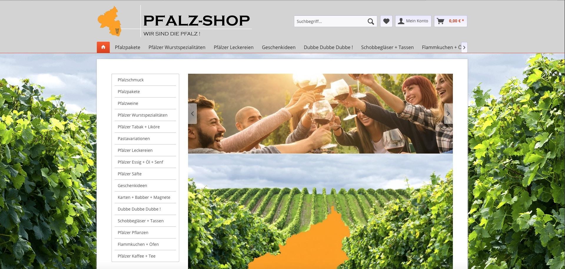 Bildschirmfoto von Pfalz-shop.de