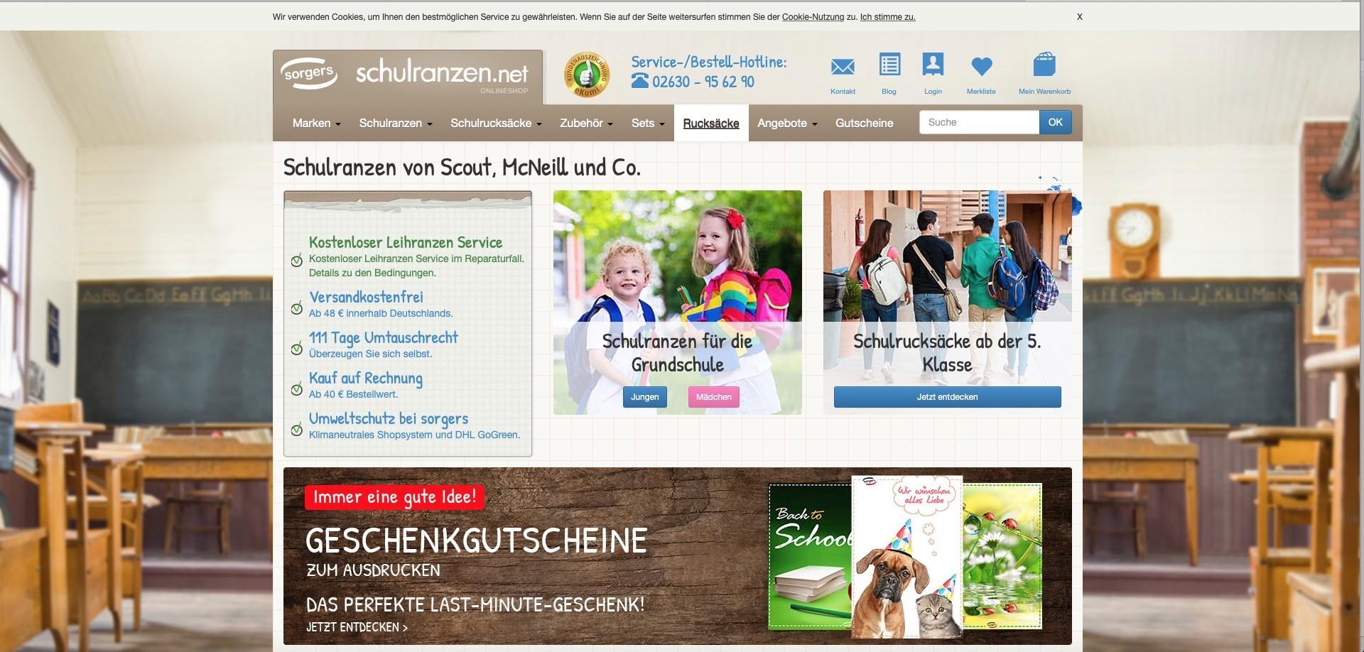 Bildschirmfoto des Onlineauftritts von Schulranzen.net