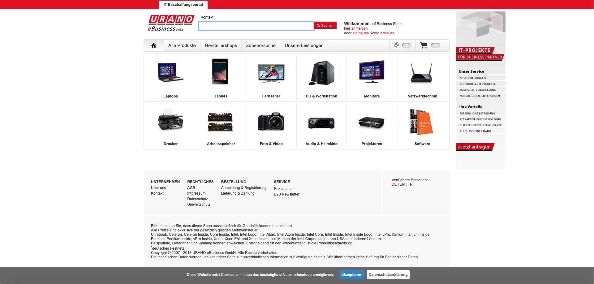 Bildschirmfoto des Onlineauftritts grano-shop.de