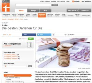 Screenshot des Artikels von Stiftung Warentest.