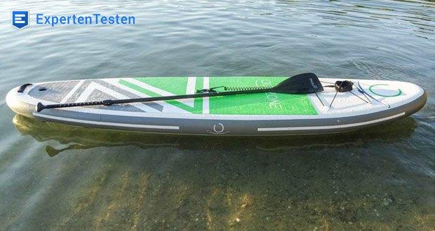 Das iSUP von Outzone besticht durch klassische Merkmale, wie hohe Stabilität und ein extrem leichtes Gleiten durch das Wasser