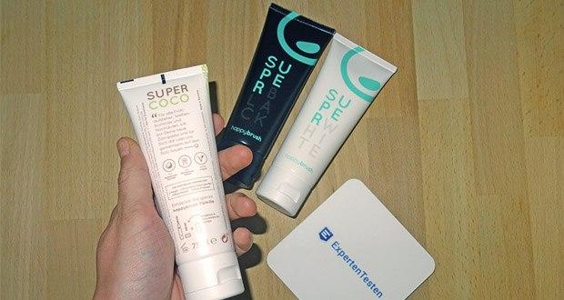 Happybrush SuperCoco, SuperWhite & SuperBlack Zahncremes im Test - Zahnpasta-Tuben bestehen zu 100% aus recyclebarem Material und kommen ohne Aluminiumsiegel