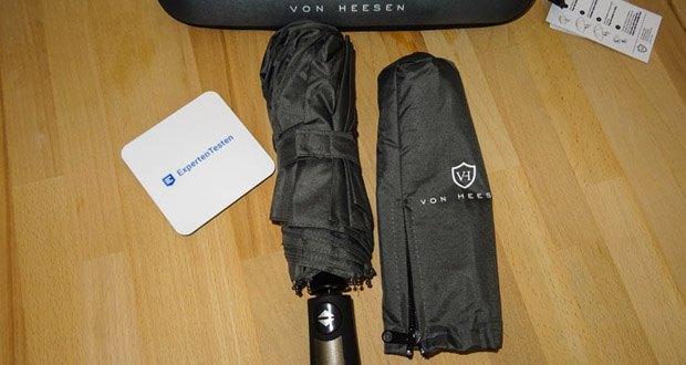VON HEESEN Regenschirm im Test - praktisches Zubehör wie Reißverschlussetui und Reiseetui (Hardcase)