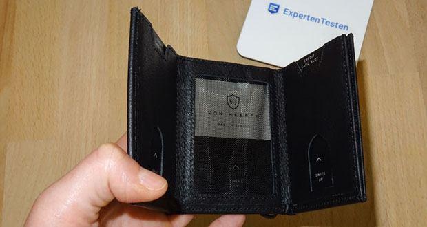 Die Ledergeldbörse VON HEESEN bietet 5 Kartenfächer für bis zu 10 Karten, 1 Scheinfach, 1 Mini-Münzfach auf der Rückseite