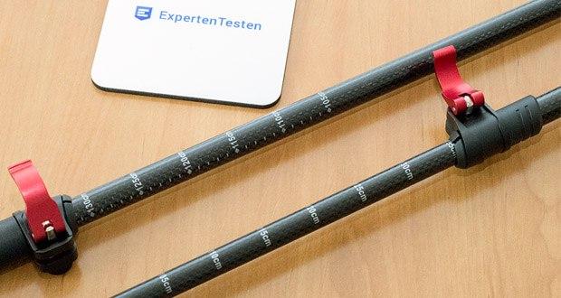 Steinwood Nordic Walking Stöcke im Test - mithilfe aufgedruckter Zentimeter Skalierung lassen sich die Wanderstöcke individuell auf jede Länge zwischen 65 cm bis 135 cm einstellen und zuverlässig befestigen