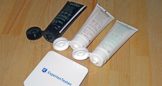 Happybrush SuperCoco, SuperWhite & SuperBlack Zahncremes im Test - sowohl die Tube als auch die Formel werden in Deutschland hergestellt