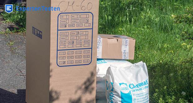 Die Wasserenthärtungsanlage CM-60 von Aqmos im Test - im Lieferumfang enthalten: Anschlussmaterial, Montageblock, 100kg Salztabletten, Härtemessbesteck, Duschfilter