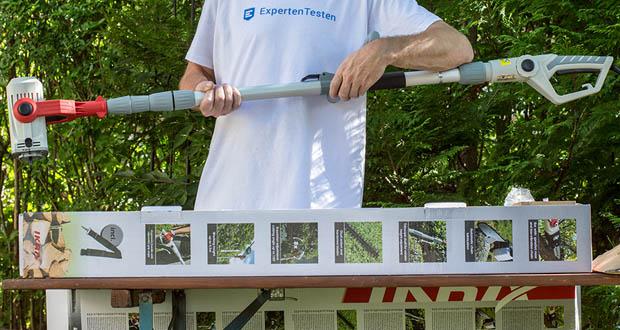 IKRA Elektro Kombi 2in1 Teleskop Heckenschere Entaster ITHK 800 im Test - Sicherheitsschalter mit Einschaltsperre / Kabelzugentlastung / Inkl. Schultergurt / Inkl. Schutzköcher
