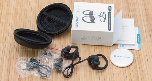 LETSCOM Bluetooth Kopfhörer U8I im Test - mit drei verschiedenen Größen von Ohrenstöpseln in dem Lieferumfang