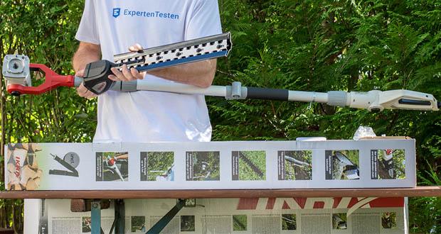 IKRA Elektro Kombi 2in1 Teleskop Heckenschere Entaster ITHK 800 im Test - Markenschwert und Sägekette von OREGON / Vibrationsarme Kette (Antivibrationskette) / IKRA