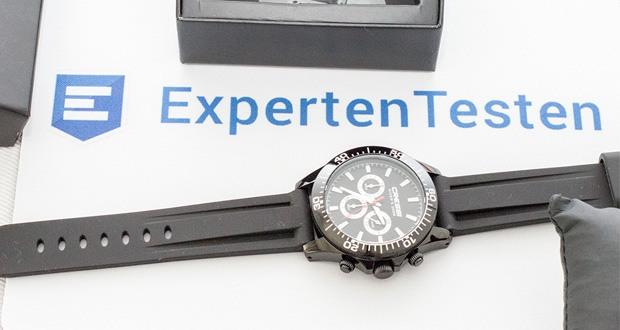Professionelle Taucheruhren Nereus von Cressi im Test - Funktionen: Uhrzeit und Stoppuhr, die durch Drücken der drei Knöpfe an der Seite der Uhr gestartet bzw. gestoppt werden können