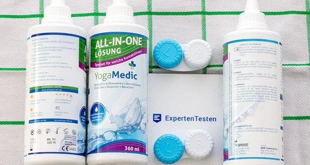 YogaMedic Kontaktlinsen Fluessigkeit für Kontaktlinsen aller Art im Test - das wasserbindende Panthenol hält Ihre Augen den ganzen Tag feucht und sorgt für ein komfortables Gefühl